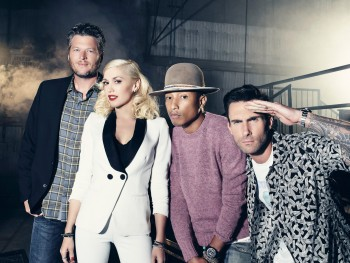 Blake Shelton, Gwen Stefani. Adam Levine, and Pharrel Williams
