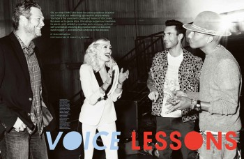 Blake Shelton, Gwen Stefani, Adam Levigne, and Pharrell Williams
